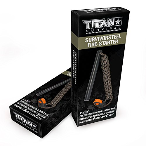 Titan Survival's 5'' x 1/2'' Ferrocerium Fire-Starter/Ferro-Rod by Titan Paracord