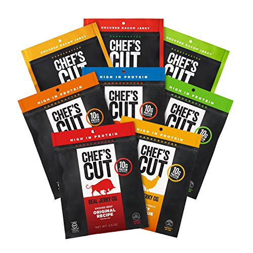 Bacon Cut Thick (Chef's Cut Tender Real Beef, Chicken, Turkey, and Bacon Jerky, Deluxe Variety Pack, 8 Count)