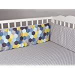 Lolli-Living-Hexagons-Crib-Bumper-with-Reversible-Green-Pattern-100-Cotton-Baby-Crib-Liner-with-Polyester-Fill-Woods-Collection