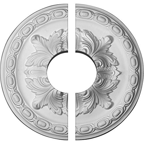 Ekena Millwork CM11AC2-03500 11 3/8OD x 3 1/2ID x 2P Acanthus Ceiling Medallion, Fits Canopies up to 3-1/2, 2 Piece by Ekena Millwork