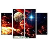 hotel books poster - Aulley 4 Panels Universe Galaxy Oil Painting Starry Sky Wall Pictures Oil Drawing Posters for Living Room Hall Office Hotel
