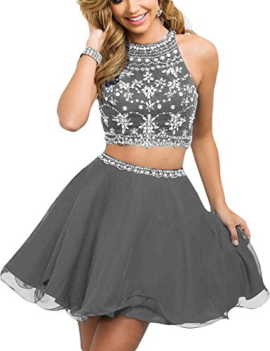 Pieces Cocktail Two Dress Dresses Women's Homecoming Fanciest Short Beaded Grey Prom tq0awAp1