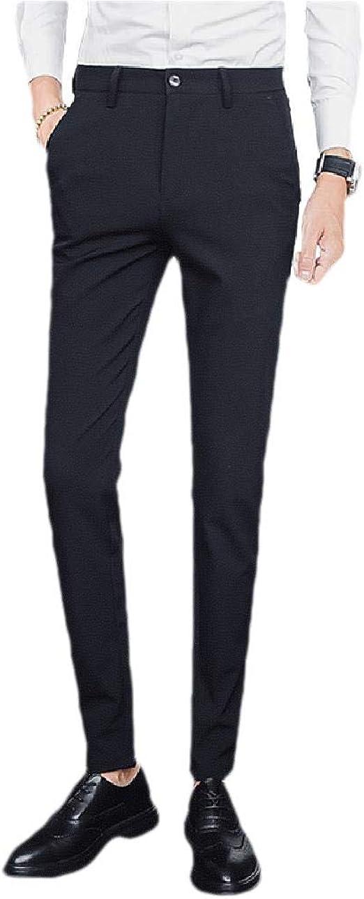 Kankanluck 男性ストレートフィットビジネスリラックススリムフィットポケットプレーンフロントドレスパンツ