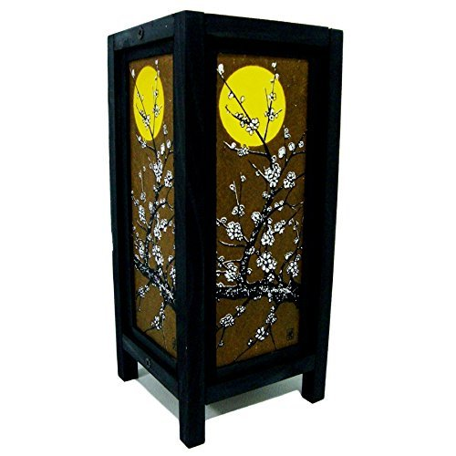 Moon Sakura Table Lamp Lighting Shades Floor Desk Outdoor Touch Room Bedroom Modern Vintage Handmade Asian Oriental Wood Bedside Gift Art Home Garden Christmas; Free Adapter; Us 2 Pin Plug #98 ()