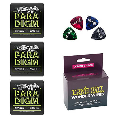 (Ernie Ball Paradigm Regular Slinky Electric Guitar Strings P02021, Set of .010-.046 -INCLUDES- P04279 Wonder Wipes 6-Pack Combo for Musical Instruments AND 4 Blucoil Guitar Picks)