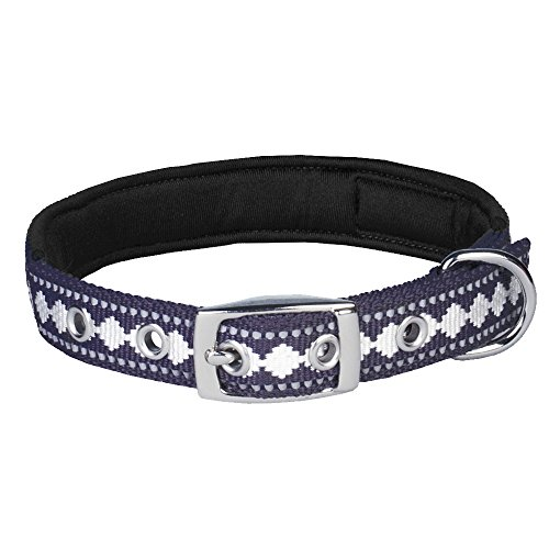 Image of Blueberry Pet 7 Colors Soft & Comfy 3M Reflective Jacquard Padded Dog Collar with Metal Buckle in Purple Grey, Neck 9-12.5