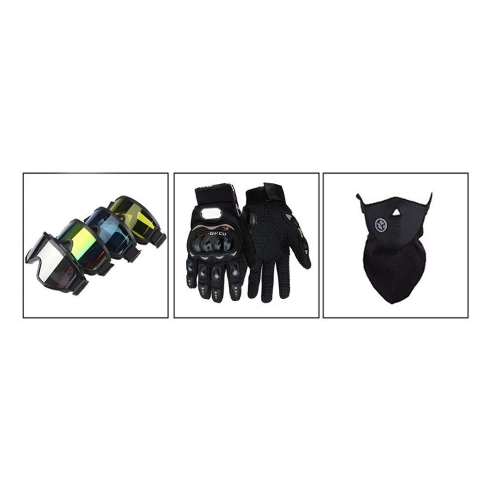 Douerye Casco Motocross Moto Quattro Stagioni caschi per Uomo e Donna Possono Essere lavati e inviati Guanti//oculari//Maschere