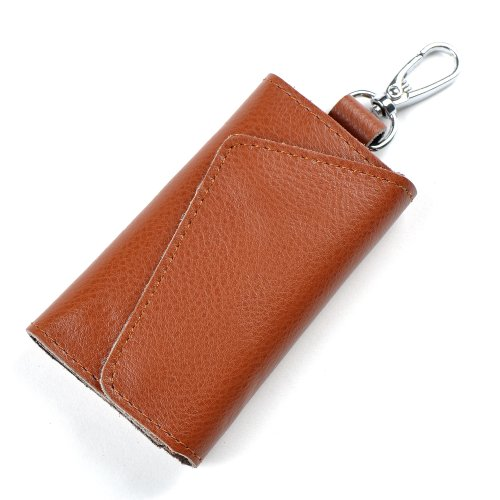 Heshe Fashion Leather Key Case Pure Color 6 Key Holder Keychain Key Ring (Coco)