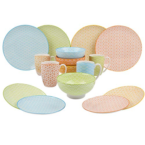 VANCASSO Porcelain Dinnerware Set of 4, Colors Patterned Service Set Series of Natasuki with Cups Bowls Dessert Plates and Dinner Plates for Everyday Use, 16-Piece ...