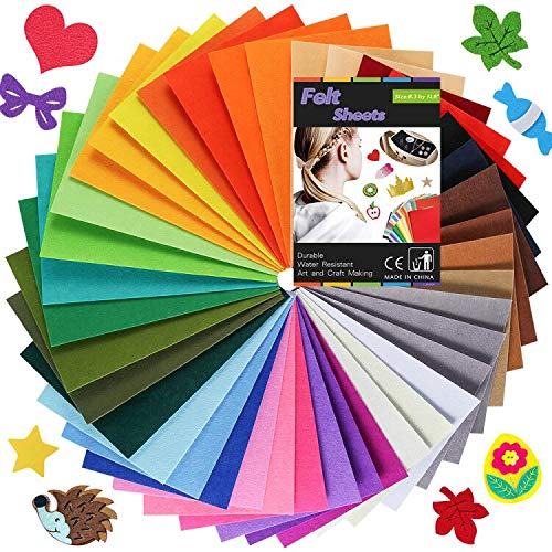 Caydo 40PCS Adhesive Backed Felt Sheets in 40 Colors, Sticky Felt Sheets for DIY Art and Craft Making (11.8 x 8 Inch)