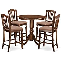 East West Furniture JACH5-MAH-C 5 Piece High Table and 4 Kitchen Chairs Set, Mahogany Finish