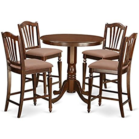 East West Furniture JACH5 MAH C 5 Piece High Table And 4 Kitchen Chairs Set Mahogany Finish
