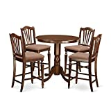 East West Furniture JACH5-MAH-C 5 Piece High Table and 4 Kitchen Chairs Set, Mahogany Finish Review