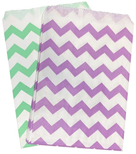 Outside the Box Papers Lilac and Mint Chevron Treat Sacks Favor Bags - 5.5 x 7.5 - 48 Pack