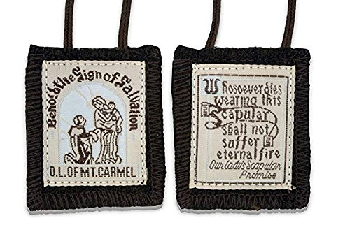 Traditional Best Brown Mt. Carmel Scapular Brown Cord. 100% Wool & Hand-made in USA By Nuns. Cord Is 18 Inches in Length- Quantity 4 (Of Lady Mount Scapular Carmel Our)