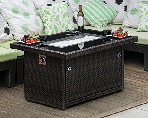 Outland Fire Table, Aluminum Frame Propane Fire Pit Table W/Black Tempered  Glass Tabletop Resin Wicker Panels ...