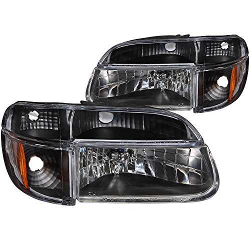 HEADLIGHTSDEPOT Black Housing Halogen Headlights 4-Piece Set with Corners ans Parking Lights Compatible with Ford Mercury Explorer Mountaineer Includes Left Driver and Right Passenger Side Headlamps ()