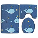 Bath mat,3 Piece Bathroom Rug Set,Cartoon Whale Flannel Non Slip Toilet Seat Cover Set,Large Contour Mat,Lid Cover For Men/Women