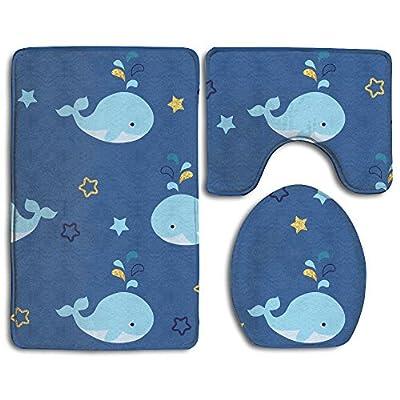Bath mat,3 Piece Bathroom Rug Set,Cartoon Whale Flannel Non Slip Toilet Seat Cover Set,Large Contour Mat,Lid Cover For Men/Women