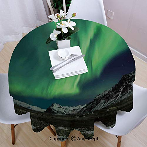 Fashion Round Tablecloth,Flash of Aurora Polaris Above Mountains in Night Picture,70