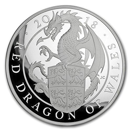 (2018 UK GB Proof 1 kilo Silver Queen's Beast Dragon (w/Box & COA) Silver Brilliant Uncirculated)