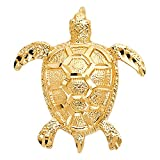 Polished 14K Solid Yellow Gold Turtle Pendant