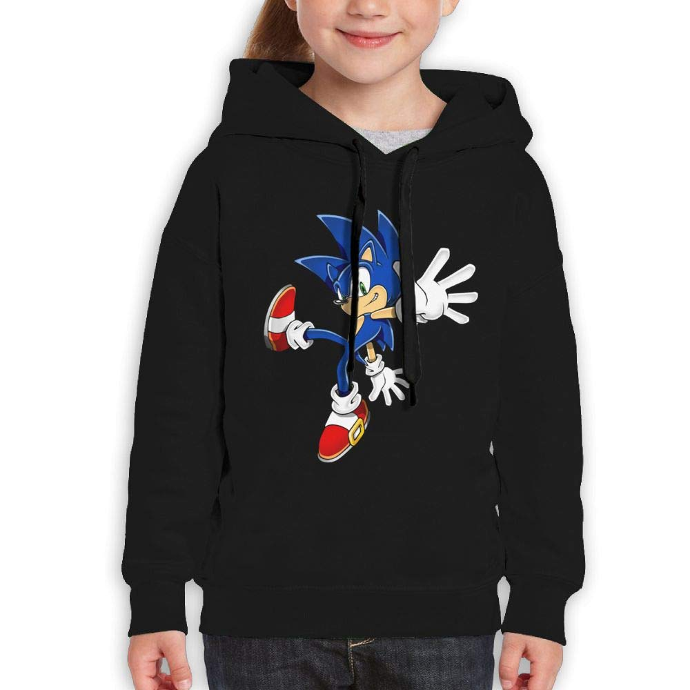 Guiping Sonic Hedgehog (1) Youth Pullover Hooded Sweatshirt Black