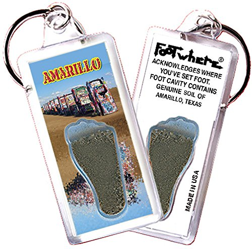 "(Amarillo ""FootWhere"" Souvenir Keychain. Made in USA (AMR105 - Cadillac Ranch))"