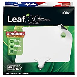 Mohu Leaf 30 TV Antenna, Indoor, 30 Mile Range, Original Paper-thin, Reversible, Paintable, 4K-Ready HDTV, 10 Foot Detachable Cable, Premium Materials for Performance, USA Made, MH-110583
