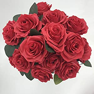 DALAMODA Red 2 Bundles (with Total 20 Heads) Rose Flower Bouquet, for DIY Any Decoration Artificial Silk Flower 103