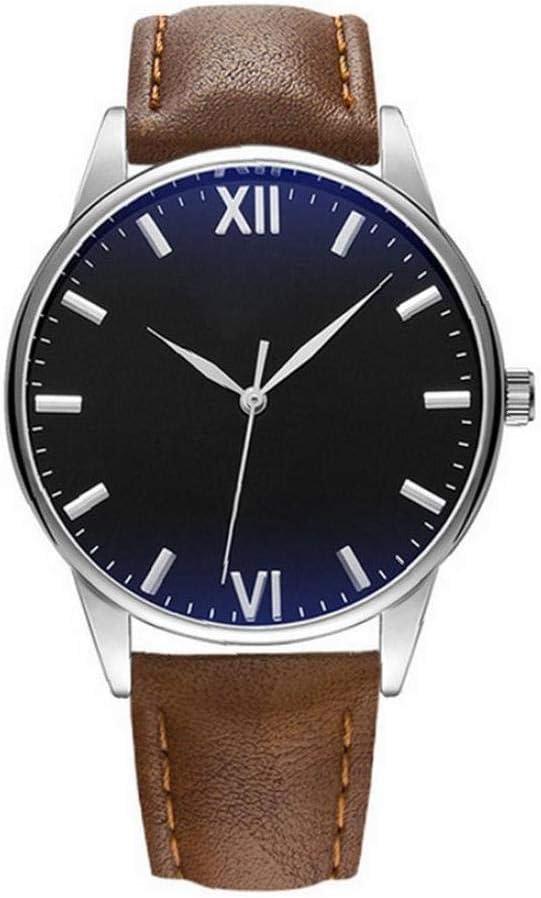 jieerrui Los Hombres De Negocios Estilo Simple Reloj Analógico De Cuarzo Impermeable Reloj con Cuero Brazalete Romano Dial Reloj De Pulsera Negro/Marrón