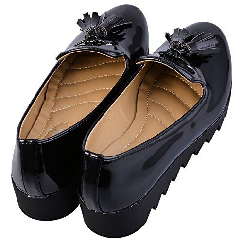 Hengfeng Cuero Borla Barco Antideslizante Zapatos 1346-17 Negro