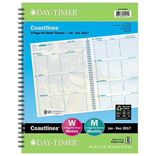 Day-Timer Weekly Planner Refill 2017, 2 Page Per Week, Wirebound, Notebook Size, 8-1/2 x 11″, Coastlines (13172)
