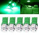 2006 audi a4 center console - CCIYU 5Pack T10194 168 LED Interior Lights Bulb Replacement Dome Map Trunk/Cargo Area Step/Courtesy/Door Glove Box License Plate Light (green) for 1997-2004 Buick Regal