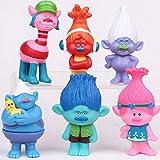 gg 6pcs Trolls Figure Play Set Movie Cartoon Magic Long Hair Dolls Kids Toys Gift