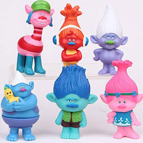 Shalleen 6pcs Trolls Figure Play Set Movie Cartoon Magic Long Hair Dolls Kids Toys Gift