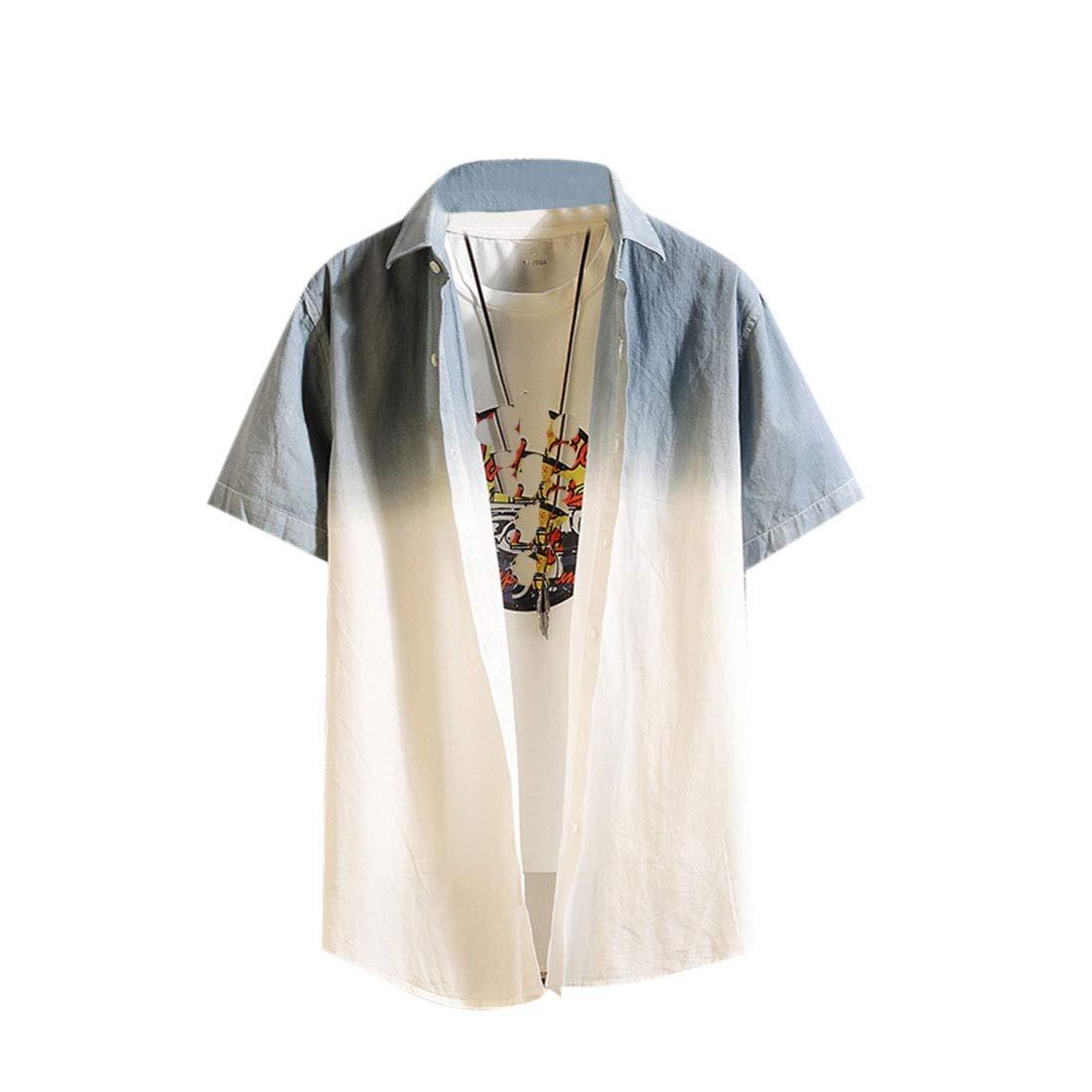 Vska Mens Summer Casual Color Block Cotton Gradient Short Sleeve Shirt