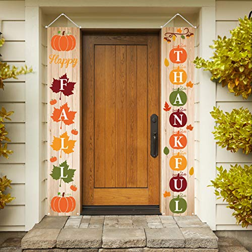 Outdoor Thanksgiving Decorations (Mosoan Fall Decorations Fall Porch Sign - Happy Fall Thankful Banner Maple Leaf Pumpkin Vertical Sign - Autumn Thanksgiving Hanging Banner Flag for Yard Indoor)