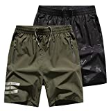 JezMax Men's 7' Athletic Gym Shorts Quick Dry Lightweight Running Training Workout Shorts with Zip Pockets, L, 2 Pack