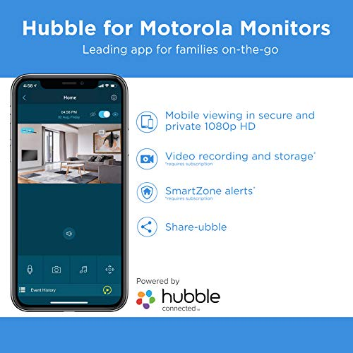 Motorola Focus89-2W Wireless Indoor Camera for Home – Security Surveillance System with Sound and Motion Detection, Remote Pan, Digital Zoom, Two-Way Talk – 1080p Video, Night Vision, White