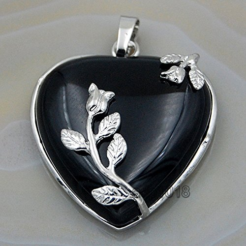- AD Beads Natural Gemstone Flower Heart Pendant Reiki Chakra Charm Beads (Black Agate)