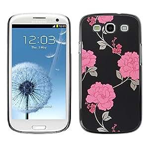 SKCASE Center / Funda Carcasa - Negro Wallpaper floral;;;;;;;; - Samsung Galaxy S3