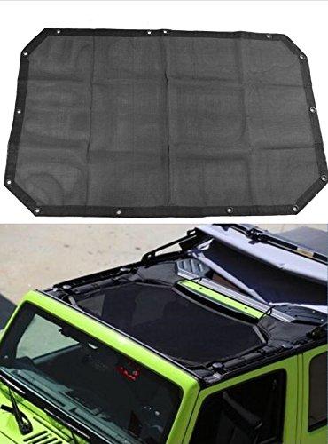 Black-Mesh-Sun-Shade-Sunshade-Full-Top-Cover-UV-Protection-For-Jeep-Wrangler-JK-2-door-or-JKU-2007-2017
