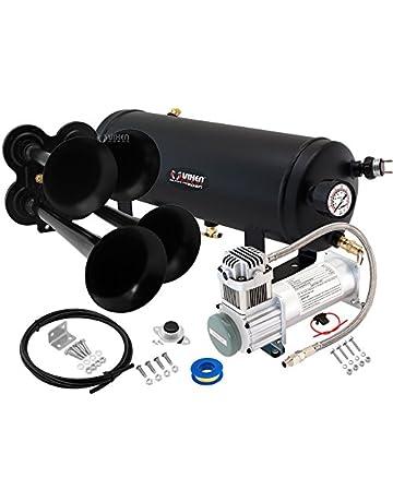 Vixen Horns Loud 149dB 4/Quad Black Trumpet Train Air Horn with 1.5 Gallon Tank