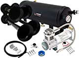 Vixen Horns Loud 149dB 4/Quad Black Trumpet Train Air Horn with 1.5 Gallon Tank and 200 PSI Compressor Full/Complete Onboard System/Kit VXO8315/4114B
