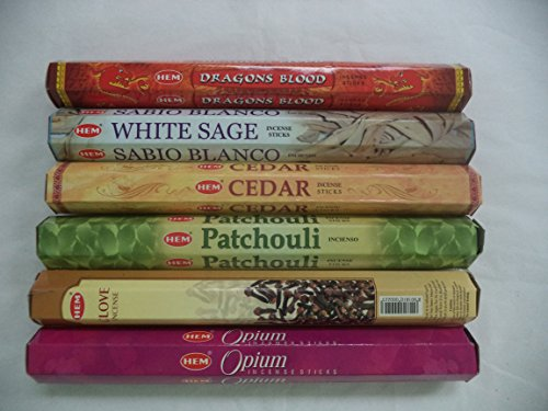 Hem Incense Sticks Dragons Blood White Sage Cedar Patchouli Clove Opium 6 x 20 = 120 Stick Variety Pack