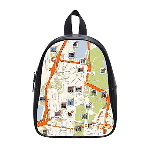 UlanLi Backpack City Maps Sydney Bangkok School PU Leather Bag - Leather Sydney Black