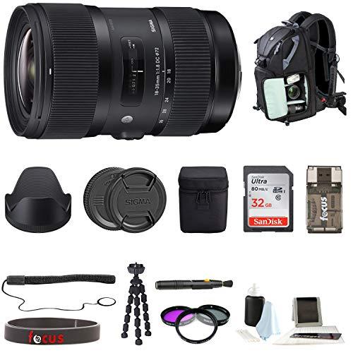 Sigma 18-35mm F1.8 Art DC HSM Lens for Canon DSLR Cameras W/ 32GB SD Card + Tripod Advanced Travel Holiday Bundle (Sigma 18 35mm F 1-8 Dc Hsm L)