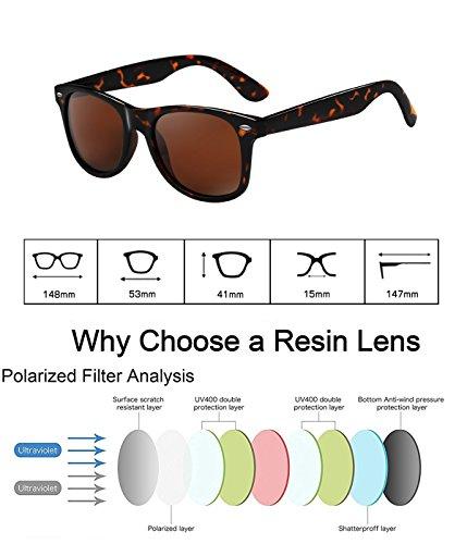 wearPro Wayfarer Sunglasses for Men Women Vintage Polarized Sun Glasses WP1001 Leopard/Brown