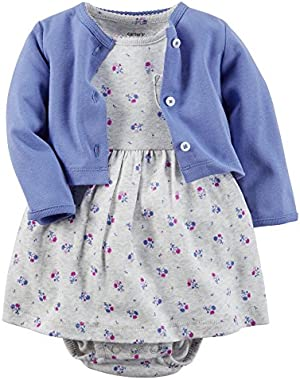 Baby Girls' 2 Piece Dress Set - Lilac/Floral - 3 Months